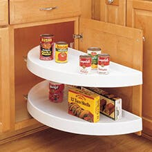 White Blind Corner Half-Moon 2 Shelf